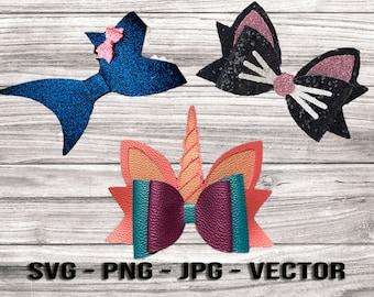 Unicorn Shark Cat Ears Hair Bow SVG Bundle Templates