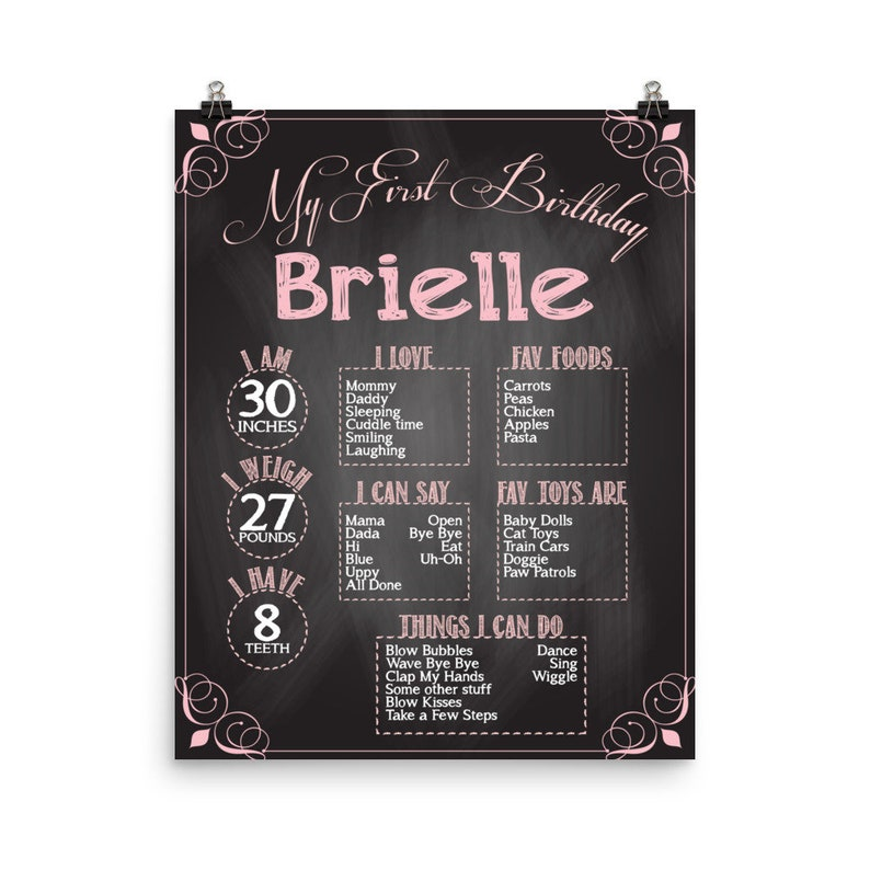 Personalized 1st Year Birthday Party Poster  First birthday image 0