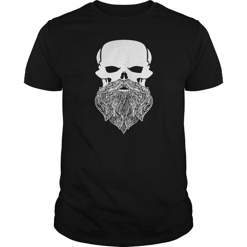 Bearded Skull T-Shirt  Manly Jolly Roger Pirate and Biker image 0