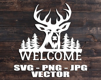 Deer Head Antlers Welcome Vector - Template SVG/PNG/JPG/dxf Vector Laser Cut Files for Cricut, Brother, Silhouette, Cameo