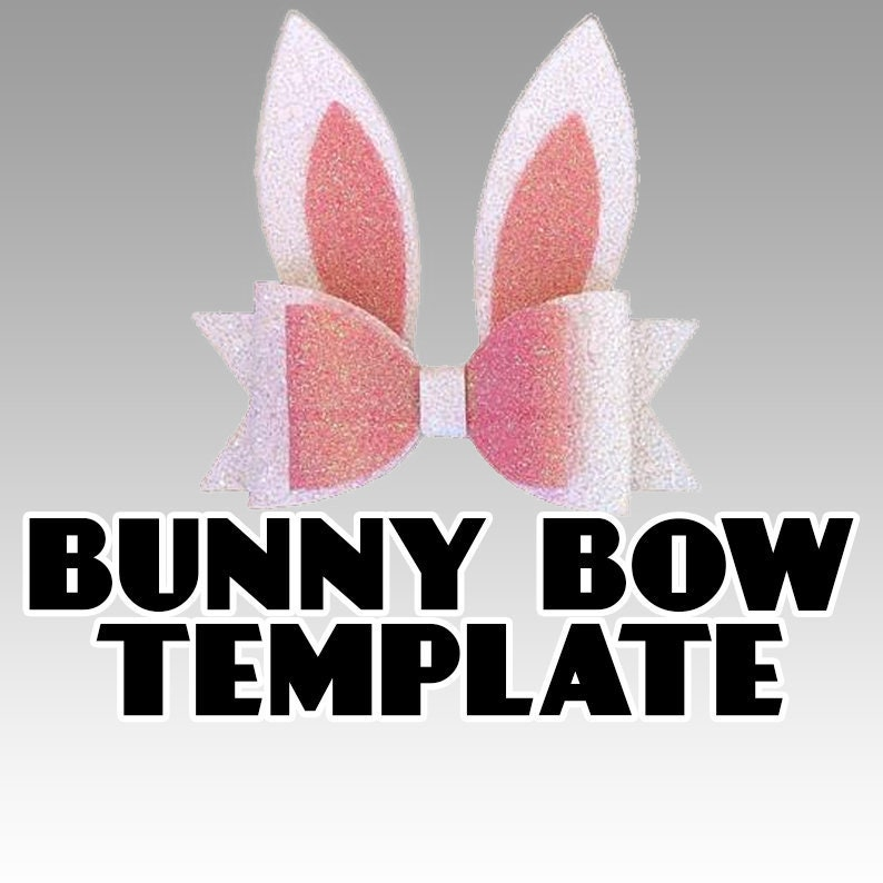 Easter Bunny Bow SVG   Bunny Ears Hair Bow Template Vector  image 0