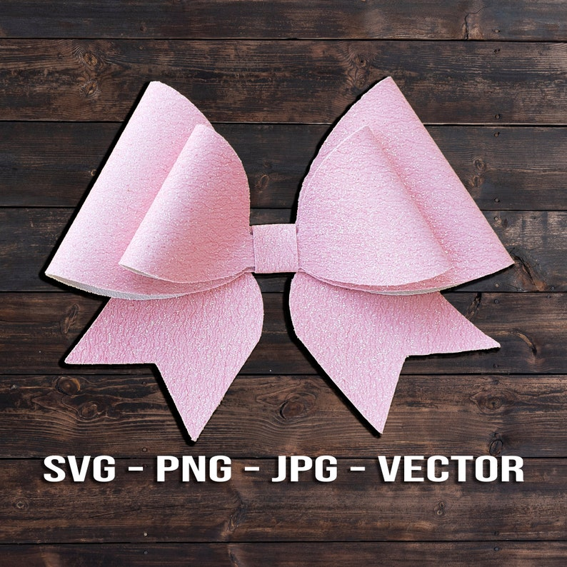 Double Cheer Bow SVG   Cheerleader Hair Bow Template Vector  image 0