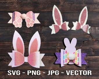 Easter Bunny and Peep Hair Bow Bundle SVG Vector Template Download