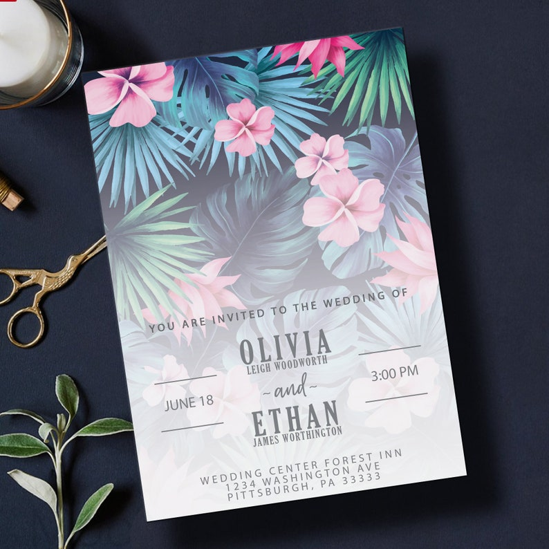 Tropical Beach Island Floral Wedding Invitation Template  5x7 image 0