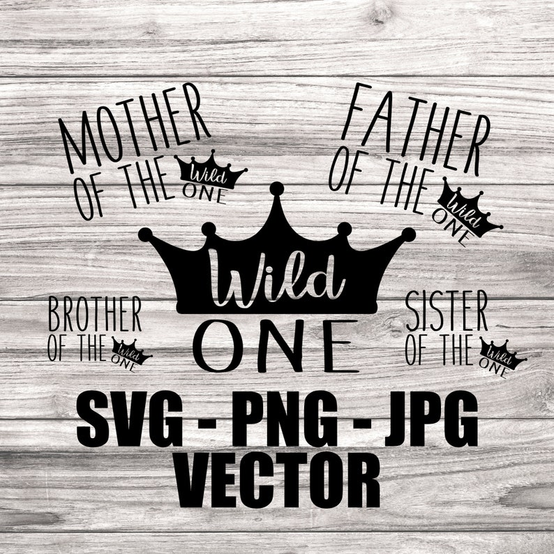Wild One Family 1st Birthday Vector Pack  Template image 0