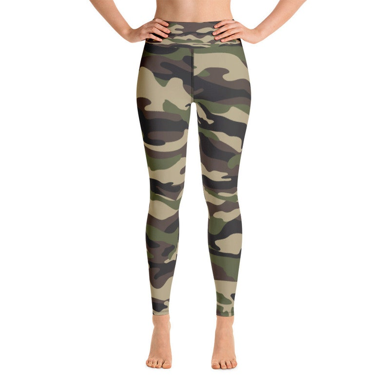 Cute Green Camouflage Pattern Yoga Pants  Camo Patterned Yoga image 0