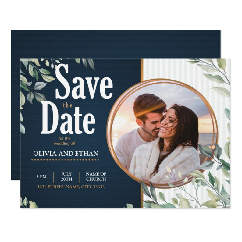 Elegant Save the Date Wedding Photo Invitation Template  5x7 image 0