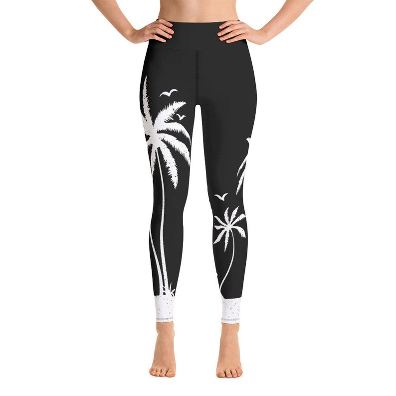 Cute Tropical Beach Palm Tree Yoga Pants  Black and White image 0