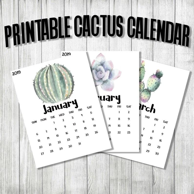 2019 and 2020 Printable Cactus Calendar  Printable A4 US image 0