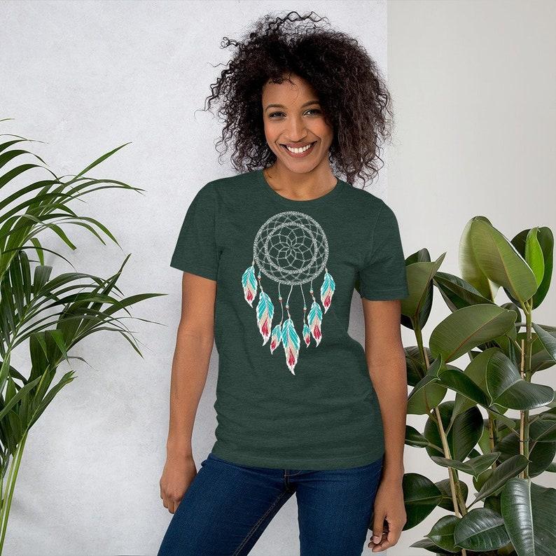 Dream catcher T-shirt colorful feathers  gypsy boho shirt image 0