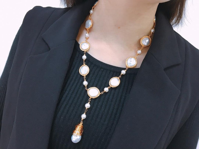 New Style 14K Hand-knitting AAA 13-14MM Natural Freshwater Button Baroque Pearl Long Necklace Sweater Chain Fashion Jewellery