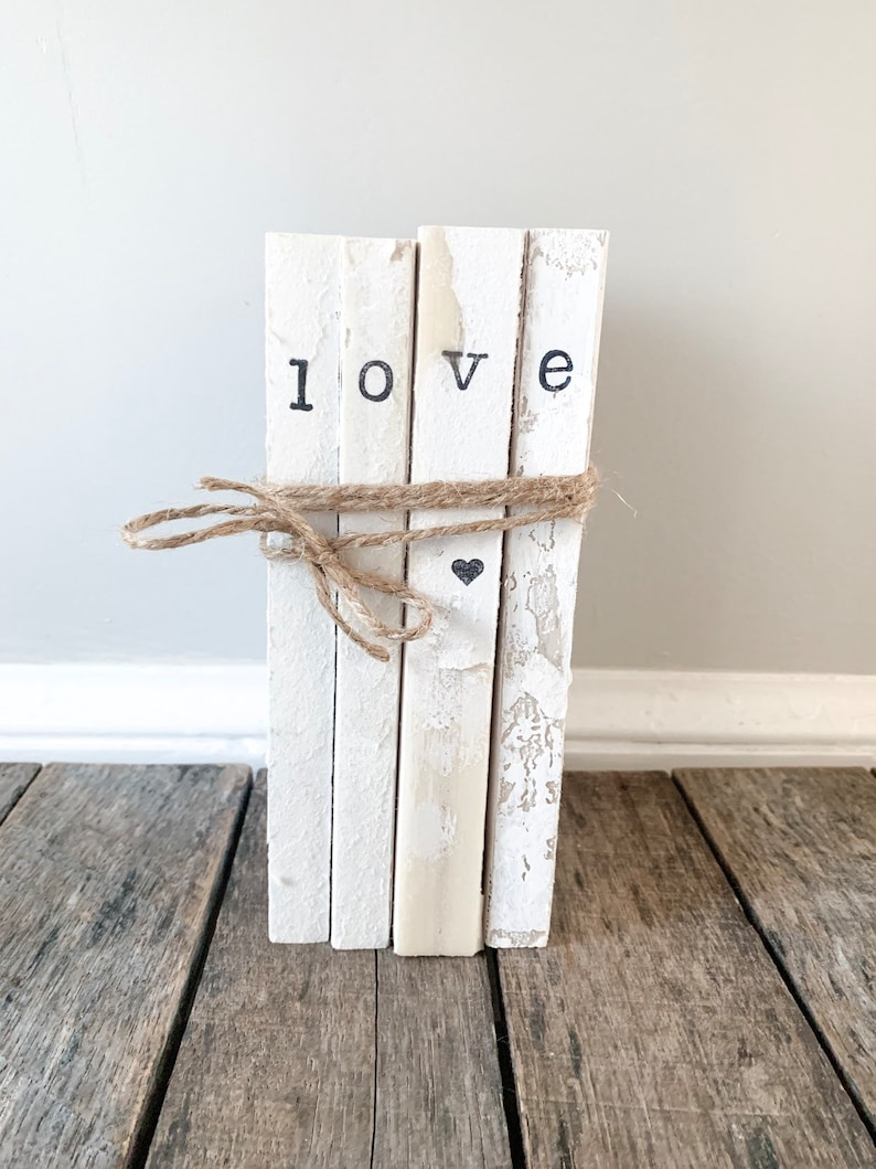 681ae0334604f valentines day gift / anniversary gift / wedding gift / stamped books /  custom stamped books / old books / farmhouse decor / unbound books