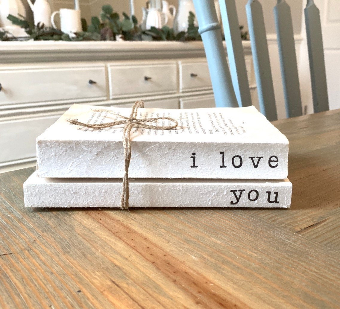 edf5c07d78918 stamped books / i love you / stamped book set / custom stamped books / old  books / farmhouse decor / unbound books / vintage decor