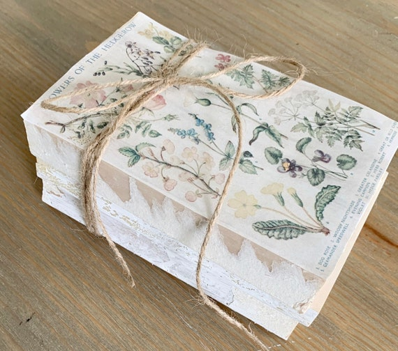 0355532f1d243 Vintage floral books / vintage book stack / stamped book set / stamped  books / shabby chic decor / wildflower prints / botanical prints