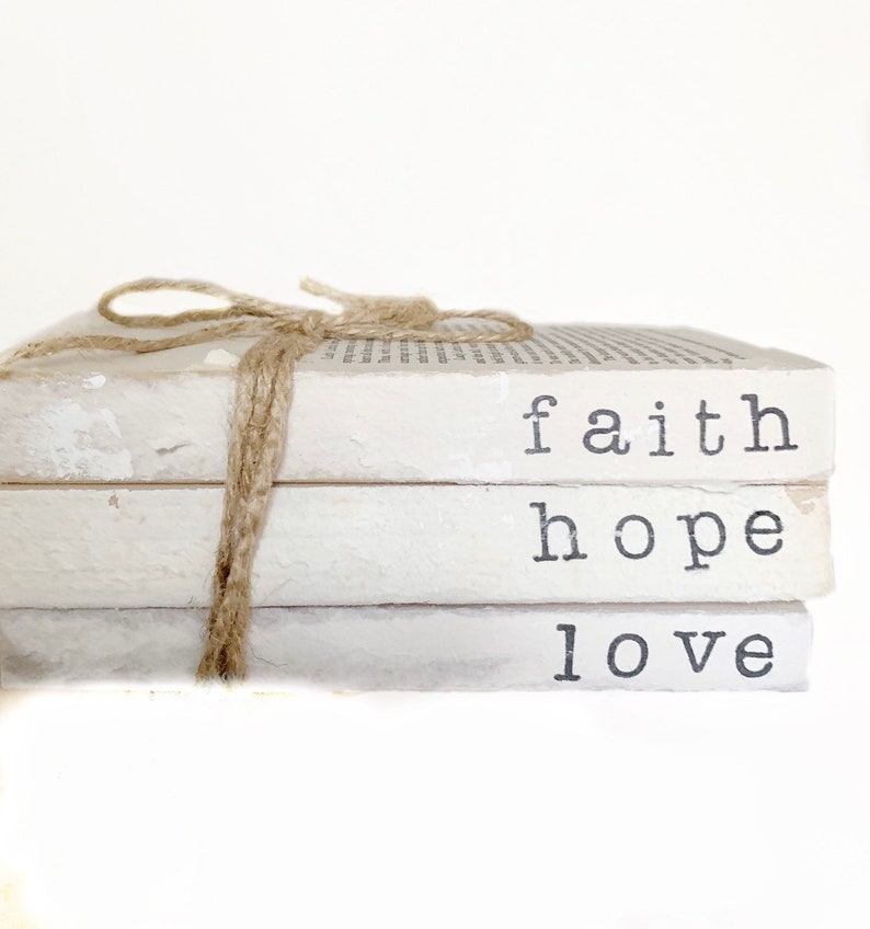 ab24d0c2ef8d4 stamped books / faith hope love / custom book set / hand stamped books /  custom personalized / stamped book set
