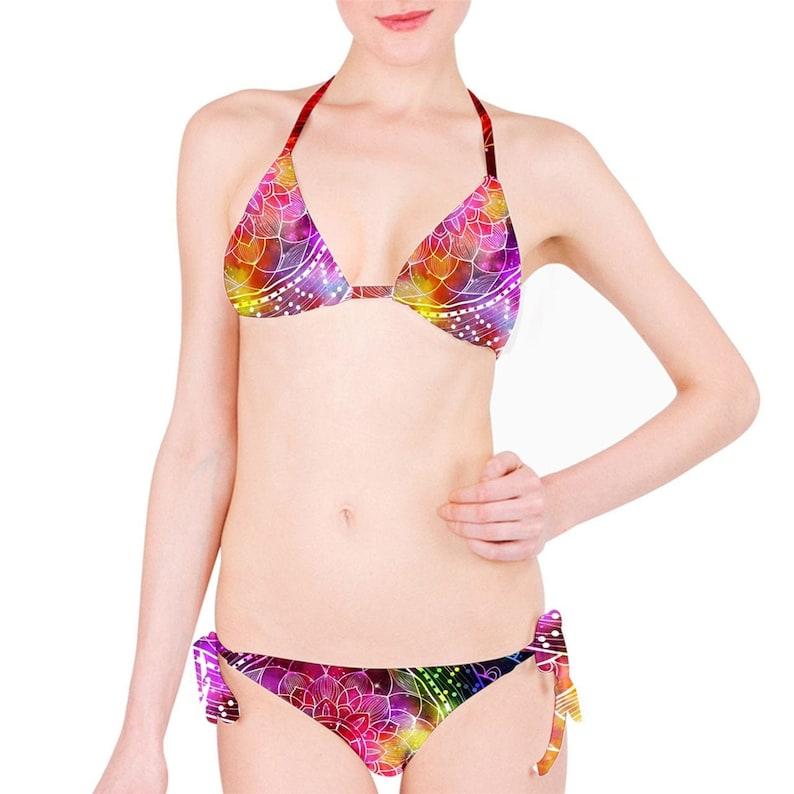 Colorful mandala galaxy background Classic Bikini Set