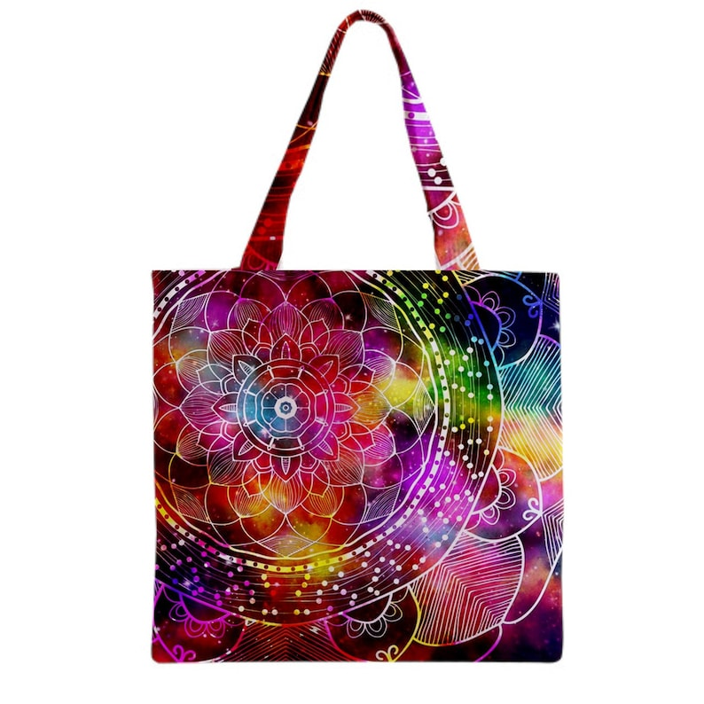 Colorful mandala galaxy background Tote Bag