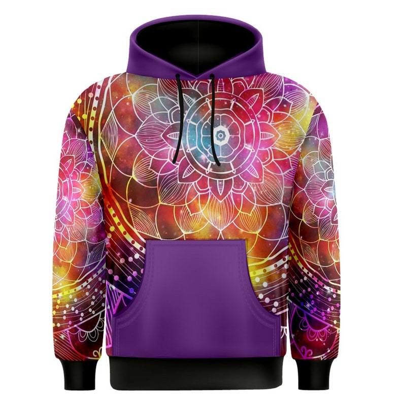 Colorful mandala flower abstract background Men/'s Pullover Hoodie