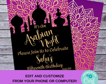 b1477ceff13 Arabian Night Birthday Party Invitation - DIY Edit and Customize Printable  Invite - It s An Arabian Night Bollywood Themed Purple and Gold