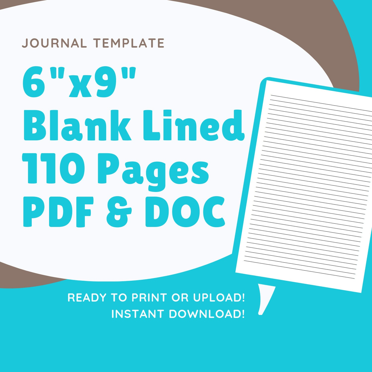 6x9 Blank Lined Journal Template Instant Download Kdp Etsy