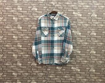 42cb71bb Vintage Mossimo Supply Plaid Flannel/ Green Brown Blouse/ Boyfriend Shirt/ Buffalo  Plaid Flannel/ Western Shirt Large