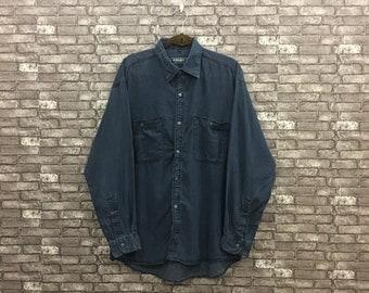 4b48cc91 Versace Denim Black Flannel/ Versace Medusa Oxfords/ Boyfriend Shirt/ Versace  Shirt/ Western Shirt Large