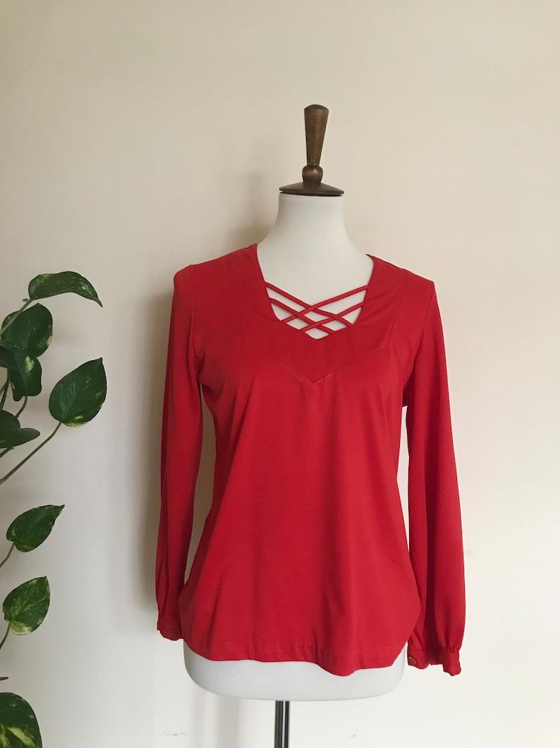 Vintage cadmium red criss cross blouse