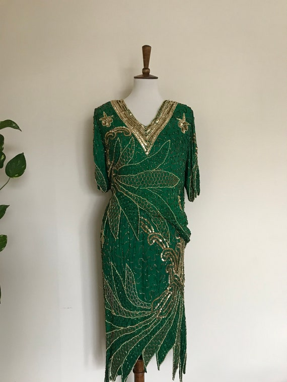 Sequined silk emerald top and skirt