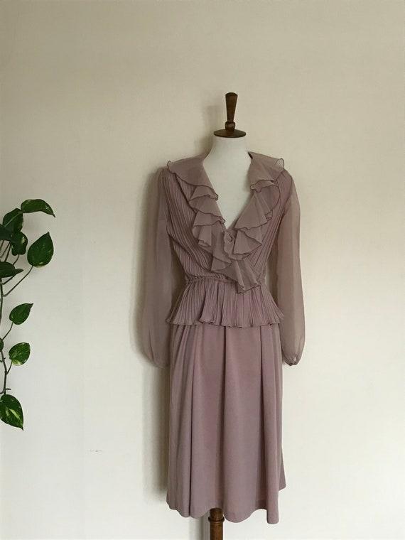 Vintage mauve ruffle dress