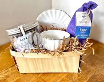 Tea Gift Basket,Tea Set for Adults,Gift Basket for Her,Tea Cup and Saucer,Gift Basket Food,Adult Basket,Teacher Gifts,Gift for Mom,Tea Gift
