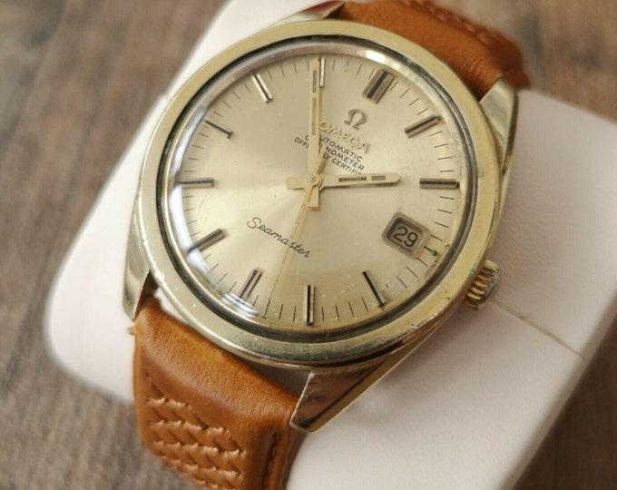 Omega Seamaster Chronometer Vintage Watch Jumbo 14k Gold, Serviced, Warranty