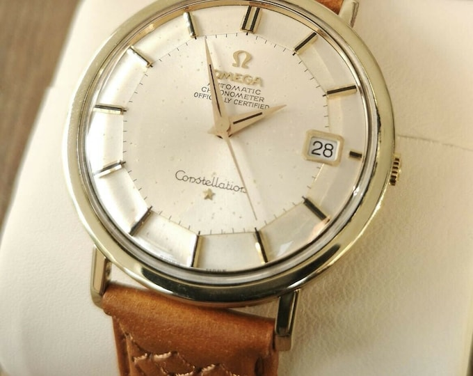 Omega Constellation Jumbo Pie Pan Vintage Watch 14k Gold Capped 1966 Serviced + Warranty