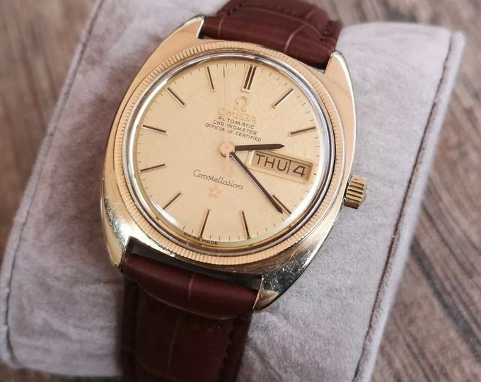 Vintage Omega Constellation Automatic 14k Watch, Fully Serviced + Warranty