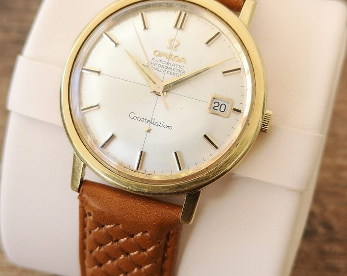 Omega Constellation 18k Gold Vintage Automatic Watch - Original Box & Papers