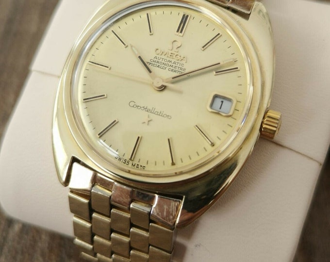Omega Constellation 14k Gold Capped Vintage Watch, Serviced + Warranty 1969
