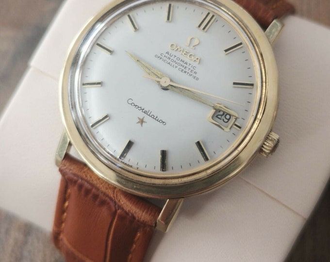 Omega Constellation Gold Plated Jumbo Vintage Watch, Serviced + Warranty 1969