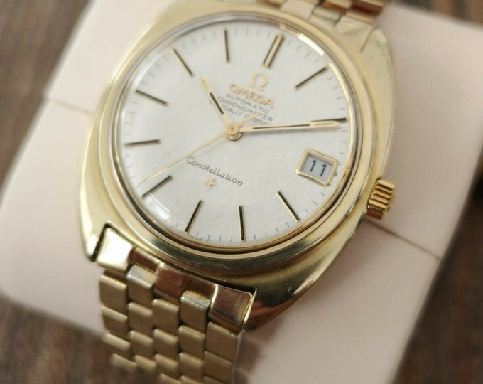 Omega Constellation 14k Gold Capped Vintage Watch, Serviced + Warranty 1968