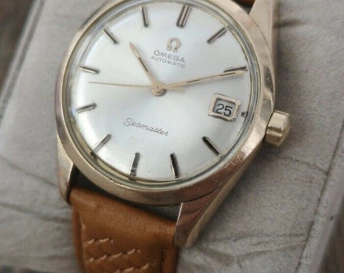 Omega Seamaster Rose Gold 14k Vintage Automatic Watch, Serviced, Warranty 1965
