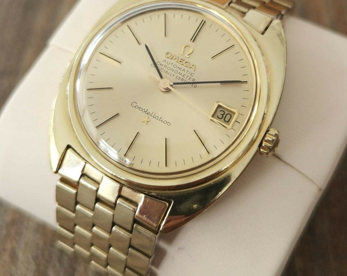 Omega Constellation 14k Gold Capped Vintage Watch, Serviced + Warranty 1967