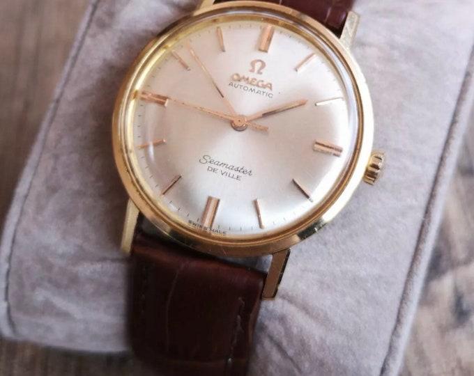 Omega Seamaster Deville 18k Rose Gold Vintage Mens Watch, Serviced + Warranty