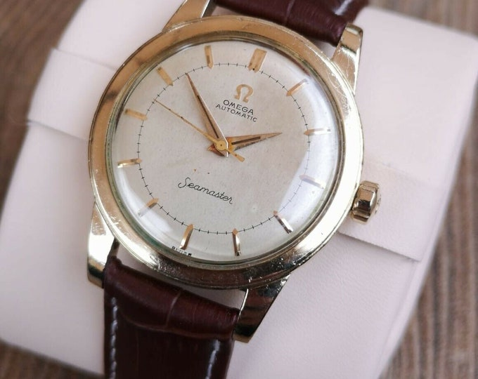 Omega Seamaster 14k Gold Vintage Watch, Serviced, Warranty + box