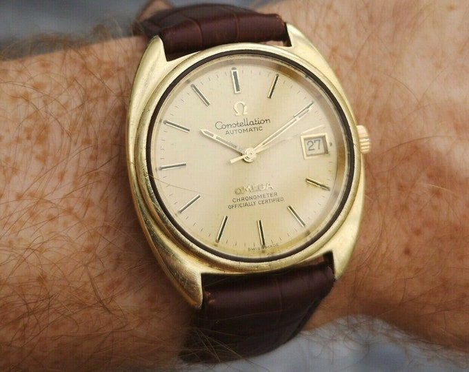 Omega Constellation 14k Automatic Gents Vintage Watch, Serviced+Warranty