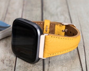 Yellow Leather Fitbit Versa 1-2 Watch Band, Slim Design Fitbit Versa 3 Watch Strap for Women, Fitbit Versa SENSE & Lite Personalized Straps