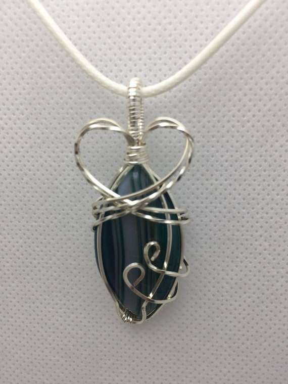 Green Agate crystal pendant wirewrapped