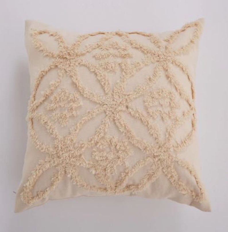 Beige Cushion Cover Vintage Floral Moroccan Style Pillow Cover Mudcloth Pillow Cushion Cover