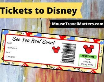 Printable Ticket To Disney DIY Personalize INSTANT DOWNLOAD Disney World Disneyland Boarding Pass Surprise Mickey Minnie Mouse Kids Disney