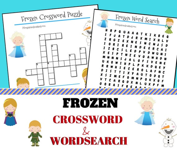 graphic relating to Frozen Word Searches titled Frozen; Anna and Elsa Crossword and Phrase look electronic downloads