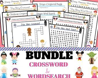Ultimate Disney Bundle; Crossword and Word search digital downloads with Christmas bonus