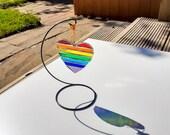 Stained Glass Rainbow heart suncatcher, rainbow decor, window decor, wall art, rainbow heart, thank you gift, stained glass decor