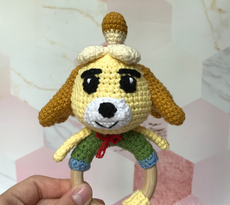 Isabelle doll Rattle Inspired by Animal Crossing Amigurumi Chibi Plushie Puppy Animal Paths Village Collection Ready to Ship Customer order